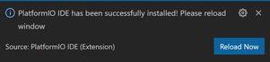 PlatformIO インストール完了の通知